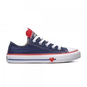 Zapatillas casual de niños Chuck Taylor All Star baja de lona con cordones Sucker for Love Converse Vaquero Azul - Ofertas